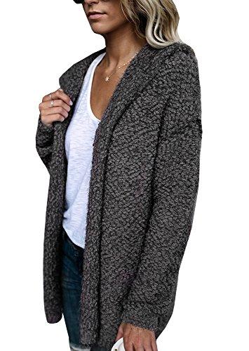 59c3d291243 Imily Bela Women s Furry Knitted Slouchy Drape Cardigan Hoodie Plush Sweater  Outwear
