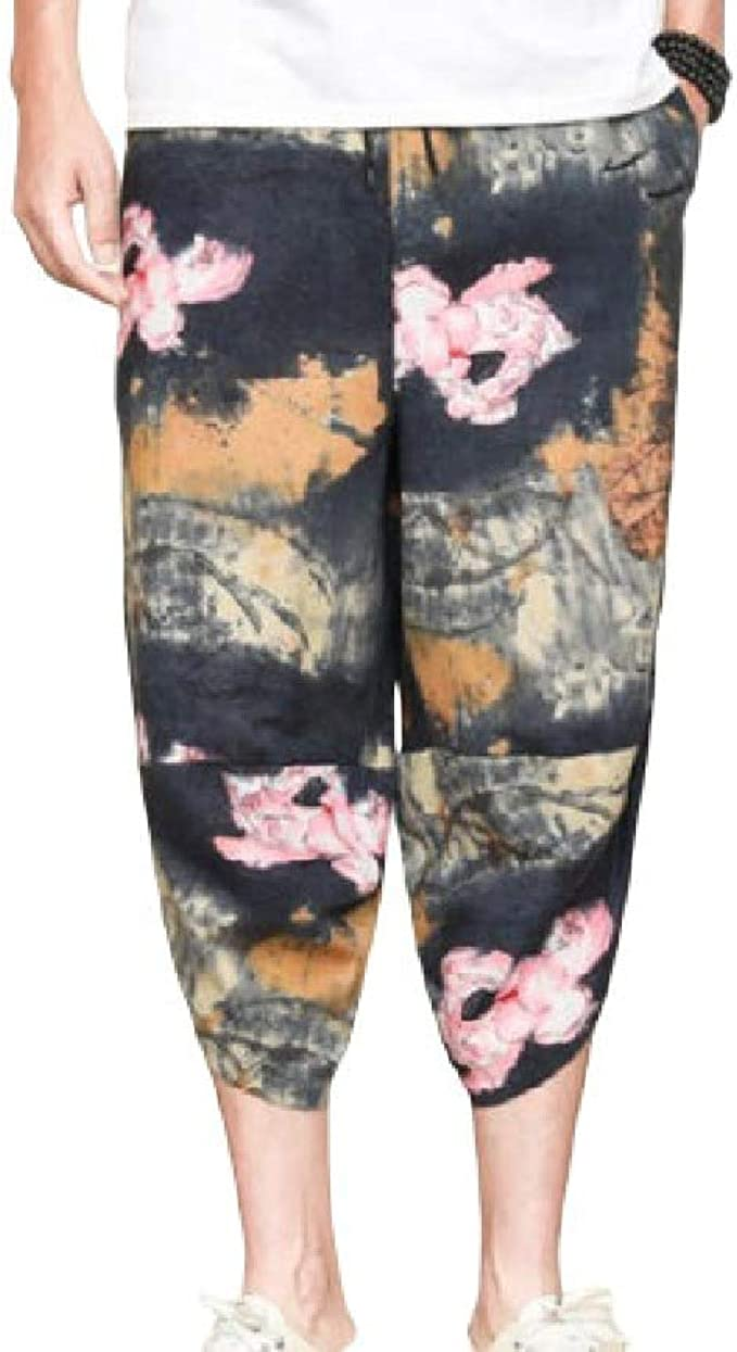 VITryst Men Colorful Folk Style Linen Comfy Printed Chinese Style Jogger Pant