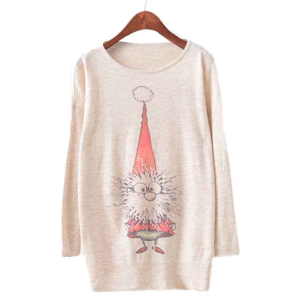 Womens Christmas Batwing Long Sleeve Color Printing Loose Knit Sweater Pullover Knitwear Tops Blouse