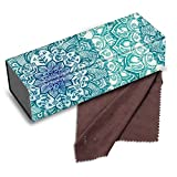 Fintie Foldable Hard Eyeglasses Case with Magnet Closure, Anti-scratch Vegan Leather Glasses Case, Emerald Illusions