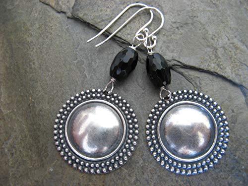 Onyx Gemstone Medallion Coin Earrings Sterling Silver Earring Wires Artisan Jewelry
