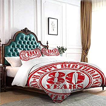 Image of dsdsgog Classic Bedding Set 80th Birthday,Birthday Grandparent Party Balloons with Curvy Swirls Artistic Print,Red Green and Blue 90x104 inch Wrinkle Fade and Stain Resistant Home and Kitchen