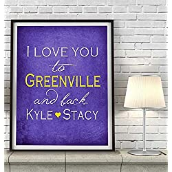 """I Love You to Greenville and Back"" North Carolina ART PRINT, Customized & Personalized UNFRAMED, Wedding gift, Valentines day gift, Christmas gift, Graduation gift, All Sizes"