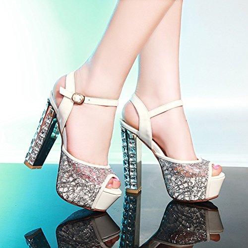 Otoño Sandalias de Suela Verano de Zapatos Crudo Liviana Out Club Noche Código Grande 34 Hollow Mujer Zapatos 50 de de Cuero Grande sintético Talón de Sandalias Novedad fqOfvwd