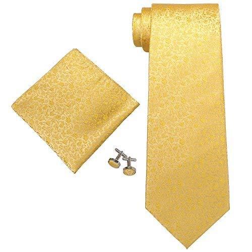 Landisun SILK 28C Floral Pattern Mens SILK Tie Set: Tie+Hanky+Cufflinks Gold Yellow, 3.25
