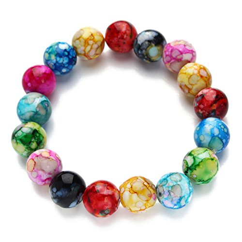 Linsoir Beads Colorful Beaded Stretch Bracelet 12mm Round Beads Bracelet for Men and Women 1 Pc