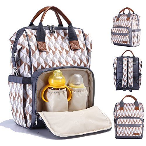 Diaper Bag Backpack, Multi Function Baby Nappy Organizer with Insulated Pockets, Changing Pad, Stroller Straps, Leather Handle (Brown Pattern)