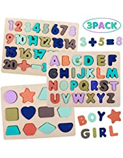 Wooden Puzzles for Toddlers, LENNYSTONE Wooden Alphabet Number Shape Learning Puzzles Board Preschool Education Toys Gifts for Kids Ages 3 4 5 6 (Set of 3)