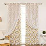 Best Home Fashion uMIXm Mix and Match Voile Sheer and Room Darkening Reverse Moroccan Print 4 Piece Curtain Set–Stainless Steel Nickel Grommet Top–Yellow –52''W x 84''L–(2 Curtains and 2 Sheer curtains)