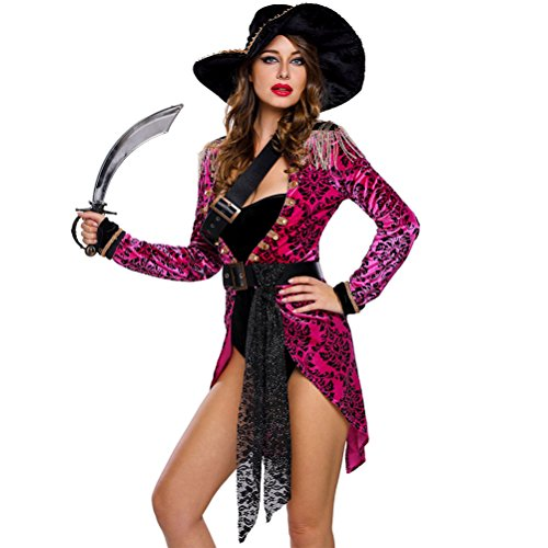 YeeATZ Women's Sexy Swashbuckler Halloween Pirate Costume(Size,L) (Holloween Gangster Costume Children)