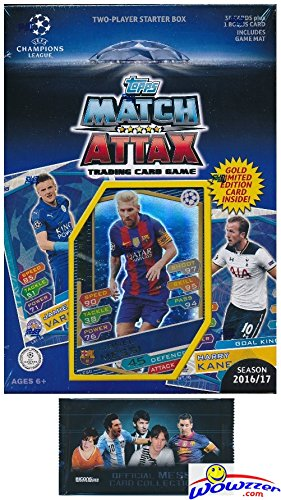 Mls Soccer Trading Cards - 2016/2017 Topps Match Attax Champions League Soccer Starter Box with 39 Cards Including EXCLUSIVE GOLD Limited Edition Lionel Messi & 2 Goalkeeper Cards! PLUS Game Mat & Rules with BONUS Messi Pack!