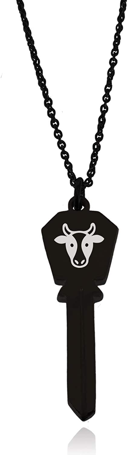 Tioneer Stainless Steel Cow Icon Hexagon Head Key Charm Pendant Necklace