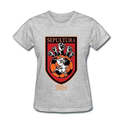 (SUNRAIN Women's Sepultura Band Logo T shirt)