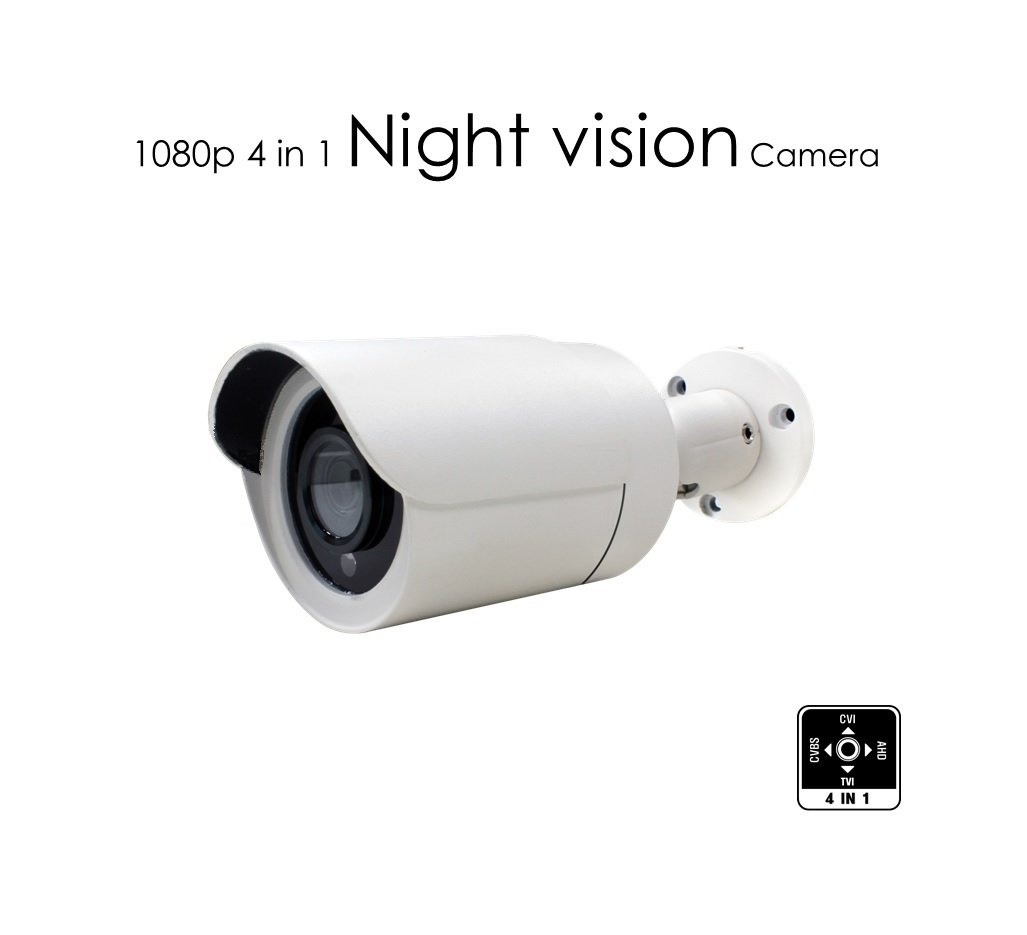 AED 1080p 4 in 1 TVI/AHD/CVI/ Analog Metal Mini Bullet Camera with 2.1MP CMOS 3.6mm Lens, SMD IR, Tinted Glass, Control Over Coax(UTC) compatible with any video recorders