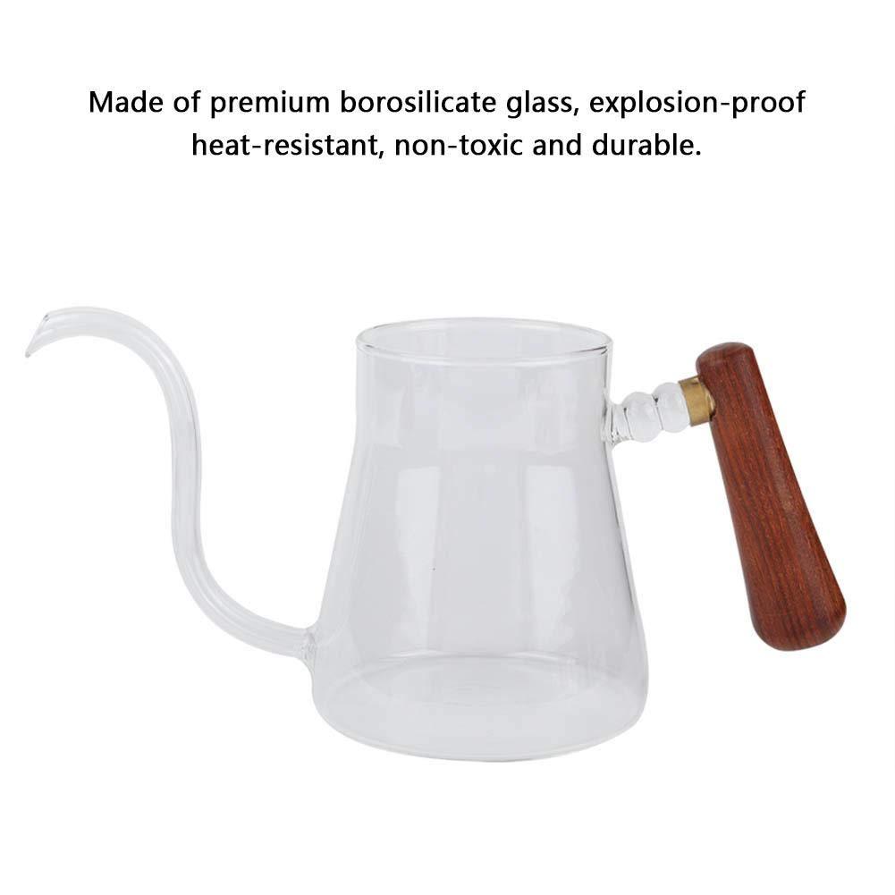 Tetera de cristal transparente de la caldera de la olla del cuello de cisne del caf/é del estilo chino con la tapa de madera