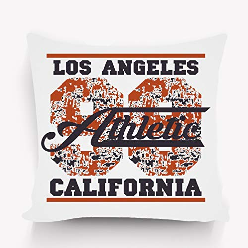 zexuandiy Throw Pillow Cushion Cover, Square Shaped, Decorative Square Accent Pillow Case, 18 X 18 inches, Multicolor Los Angeles Athletics Typography Stamp California -
