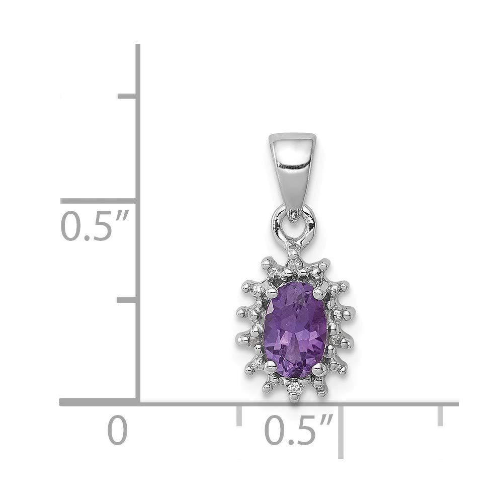 16mm x 7mm Mia Diamonds 925 Sterling Silver Solid 0.01cttw Rhodium Amethyst and Diamond Pendant