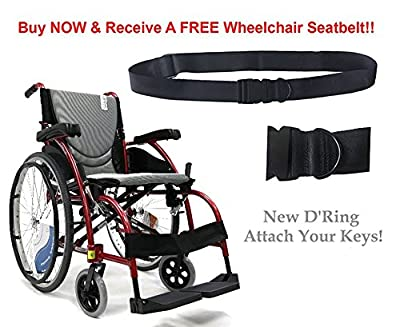 "New Karman S-Ergo 105 ( S-Ergo105F18RS ) Ergonomic Wheelchair with Fixed Footrest in Red - 18"" Seat"