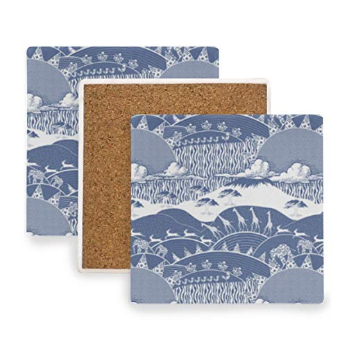- Africa Monaco Blue Culture Ceramic Coasters for Drinks,Square 4 Piece Coaster Set