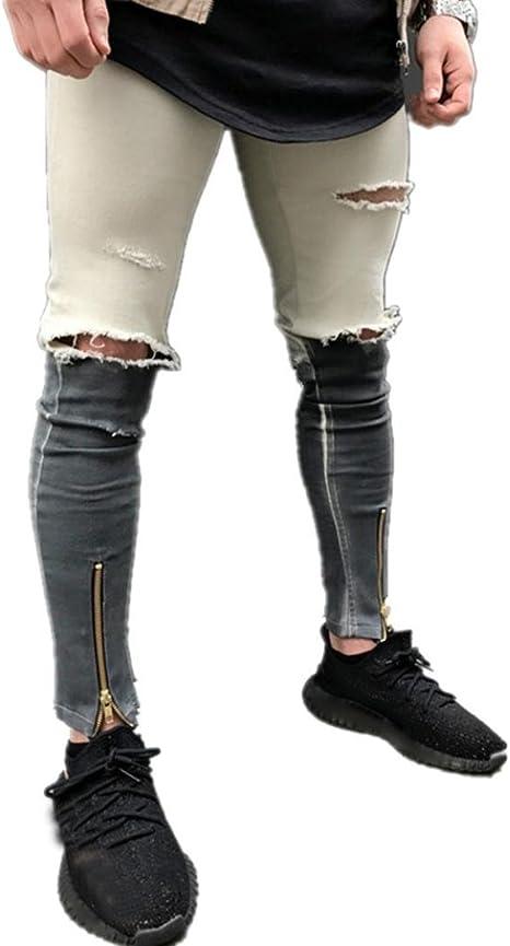 Longra☆ 2018 Jeans Personalizados para España Mens Ripped Slim ...