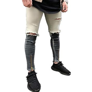 Longra☆ 2018 Jeans Personalizados para España Mens Ripped ...