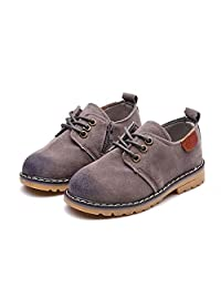 JINANLIPIN Boys Oxfords Dress Shoes - Side Zipper Lace-up Suede Casual Shoes (Toddler/Little Kids)