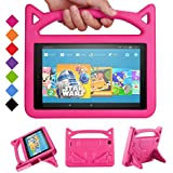 "All-New Amazon Fire HD 10 Kids Case -Riaour Shock Proof Light Weight Convertible Handle Stand Kids Friendly Cover for Fire HD 10.1"" Tablet(Compatible with 2015&2017 Released)(New Pink)"