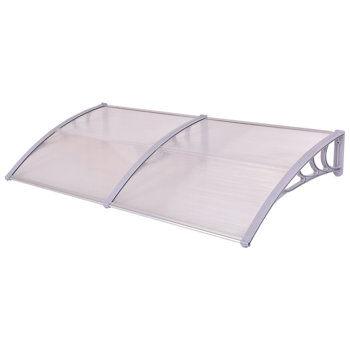 Tangkula 40''x 80'' Window Awning Modern Polycarbonate Cover Front Door Outdoor Patio Canopy Sun shetter 3 Colors (Clear with grey edge)