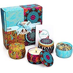 YINUO MIRROR Scented Candles Gift Set, Natural Soy Wax 4.4 Oz Portable Travel Tin Candles Women Gift with Strongly Fragrance Essential Oils for Aromatherapy Gift for Mother's Day- 4 Pack