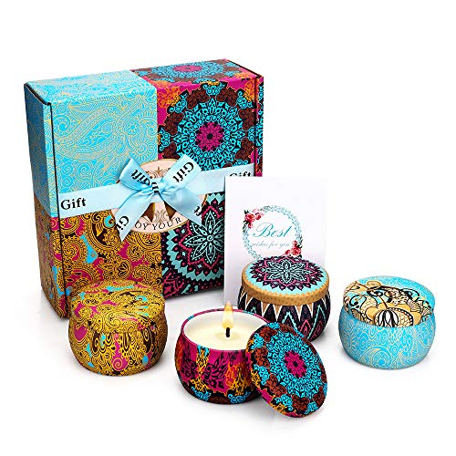 Yinuo Mirror Scented Candles Gift Set, Natural Soy Wax 4.4 Oz Portable Travel Tin Candles Women Gift with Strongly Fragrance Essential Oils for Stress Relief and Aromatherapy - 4 Pack (Best Gifts For Women)