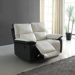 Divano Roma Furniture Modern Two Tone Bonded Leather Oversize Recliner Living Room Set (2 Seater)
