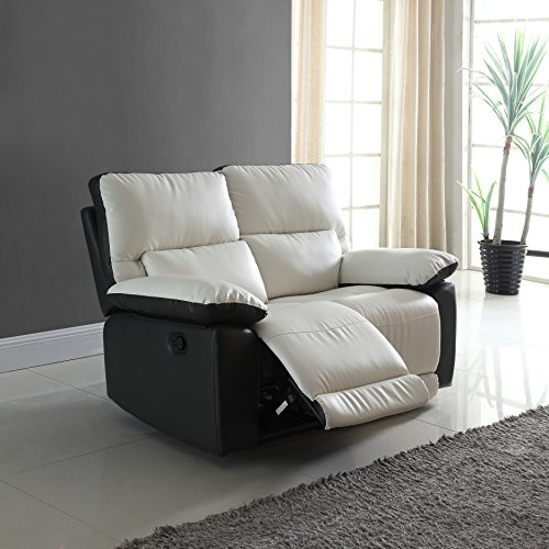 Modern Two Tone Bonded Leather Oversize Recliner Living Room Set (2 (Set Sofa Loveseat Recliner Chair)