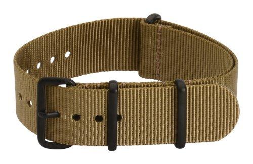 Clockwork Synergy Premium Nylon Nato Watch Straps bands PVD Black Hardware (18mm, Desert Tan) - Black Pvd Strap