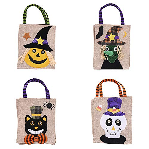 Zagtag 4pcs Halloween Tote Bags, Trick or Treat Goody Bags for Children Halloween Themed Party