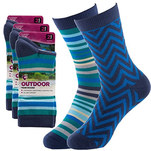 Sof Sole (6 Pairs) Women's Crew Socks Colorful With Designs Outdoor Year Round Lightweight Walking and Athletic Hiking (Sole Sport Lightweight Socks)
