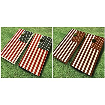 Amazon Com Usa American Flag Stained Cornhole Boards