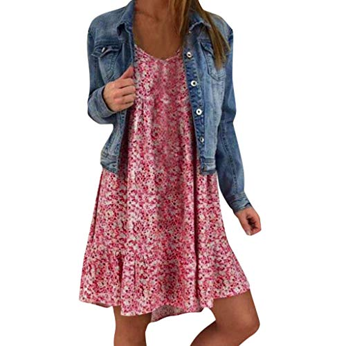 Cenglings Womens Plus Size Floral Sleeveless Mini Dress Ladies Loose O Neck Beach Holiday Ruffle Flare A-line Dress Hot Pink