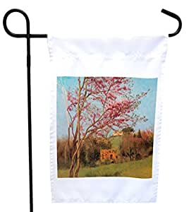 Rikki Knight Godward Art Blossoming Red Almond House or Garden Flag with 11 x 11-Inch Image, 12 x 18-Inch