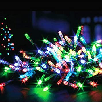 50 Timer Multi Coloured Battery Operated LED Christmas Lights ...