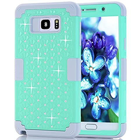 Samsung Galaxy Note 5 Case, NOKEA Diamond Hybrid Heavy Duty Shockproof Full-Body Protective Ultra Slim Bumper Cover 3 in 1 Shield Soft TPU Hard PC Dual Layer Impact Protection (Mint (Galaxy Note 2 3 Layer Case)