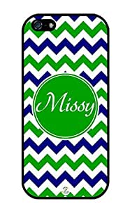 iZERCASE Personalized Blue Green White Chevron Pattern RUBBER iphone 5 / iPhone 5S case - Fits iphone 5, iPhone 5S T-Mobile, AT&T, Sprint, Verizon and International (Black)