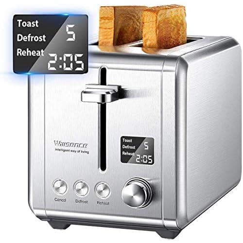 chollos oferta descuentos barato Tostadora 2 rebanadas con pantalla LCD 9 ajustes de cocción tostadora de acero inoxidable con ranura extra grande anula descongela calor y recogemigas extraíbles 920 W