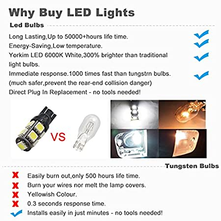 Boodled 10x Extremely Bright 3030 Chipset LED Canbus Error Free Bulbs for Car Interior Dome Map Door Courtesy License Plate Lights Compact Wedge T10 168 194 2825 Xenon White 10 x T10-3030-6SMD WHITE