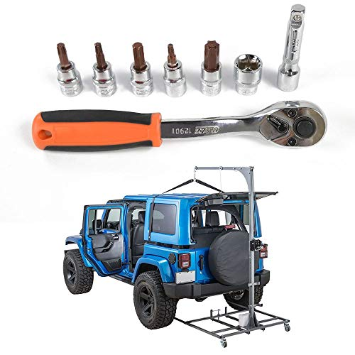 JeCar Socket Wrench Kit Hardtop and Door Removal Torx Set for 1997-2019 Jeep Wrangler TJ JK JL and Unlimited Sport Sahara Rubicon X