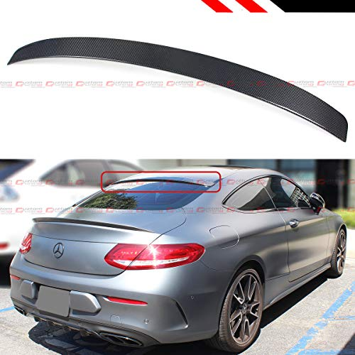 Door 2 Coupe Mercedes (Cuztom Tuning Fits for 2017-2019 Mercedes Benz W205 2 Door Coupe C-Class Real Carbon Fiber VIP Style Rear Window Roof Spoiler)