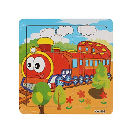 Learning Puzzles,Malltop Lively Train Cartoon Wooden Jigsaw Toys For Kids Education 5.8
