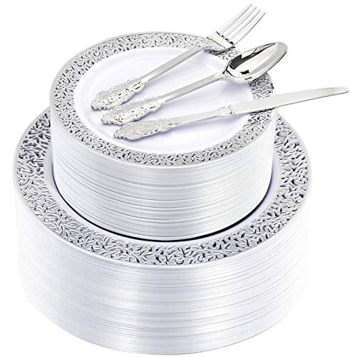 Supernal 300pcs Silver Dinnerware Set,Silver Lace Plates, Plastic Silverware,Suit for Wedding, Catering Event, Big Party,include 60 Dinner Plates, 60 Salad Plates, 60 forks, 60 knives, 60 spoons