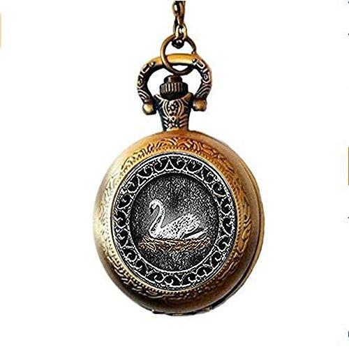 White Swan Pocket Watch Necklace,Emma Swan Once Upon a Time Inspired Pocket Watch Necklace,Swan Keychain,Unique Pocket Watch Necklace Customized Gift,Everyday Gift Pocket Watch Necklace ()
