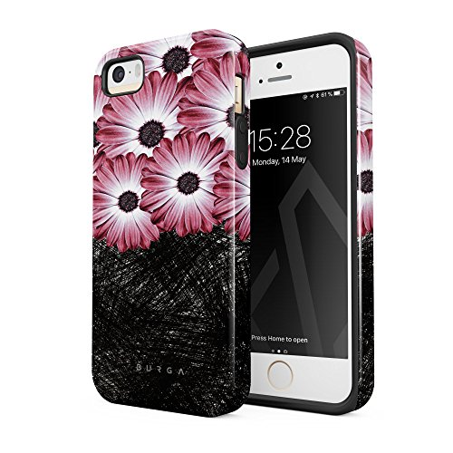 BURGA iPhone 5 iPhone 5s iPhone SE Case Pink Princess Gerbera Daisy Floral Pattern Heavy Duty Shockproof Dual Layer Hard Shell + Silicone Protective Cover