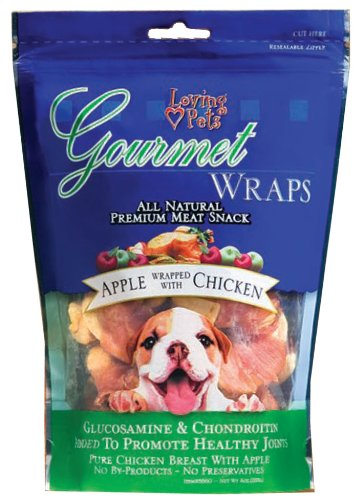Loving Pets All Natural Premium Apple and Chicken Wraps with Glucosamine and Chondroitin Dog Treats, 6 (Chicken Wraps)